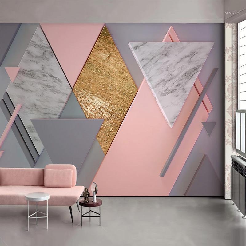 عرف صور خلفيات 3d الشمال نمط الوردي المعين الهندسة الجداريات غرفة المعيشة جدار اللوحة papel دي parede 3d fresco1
