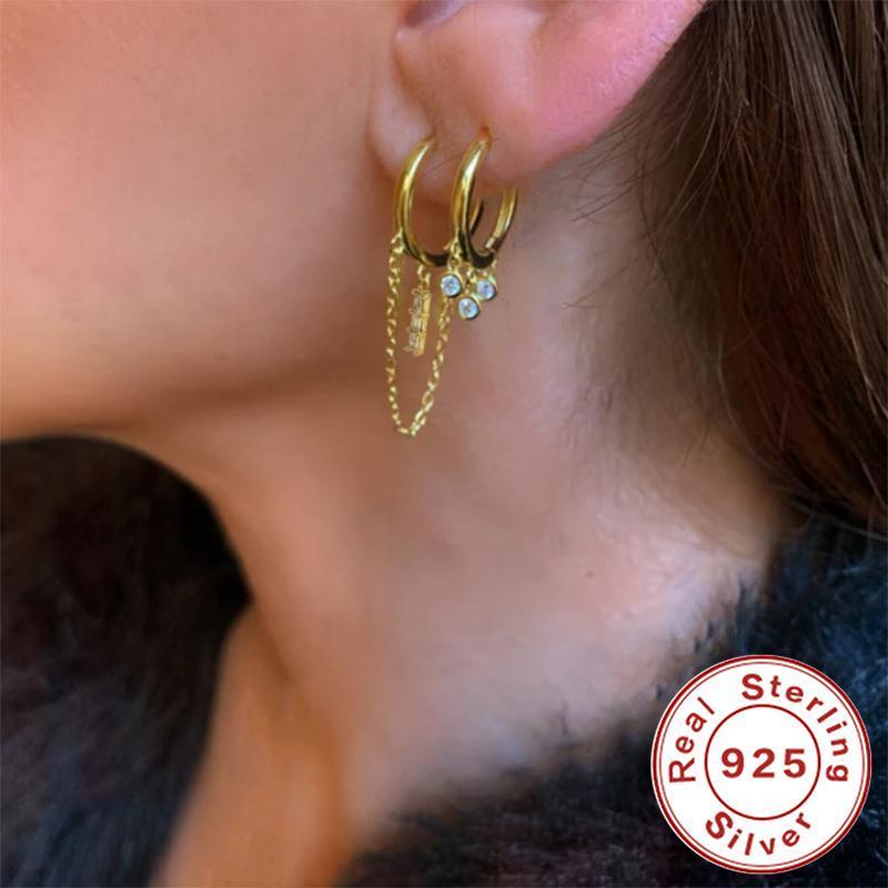 Pendientes del aro de la cadena de la cadena de los intereses coreanos de Romad para las mujeres de la moda Double Hoops Orear la espalda Piercing Piercing Earings Silver 925 Joyería Brincos