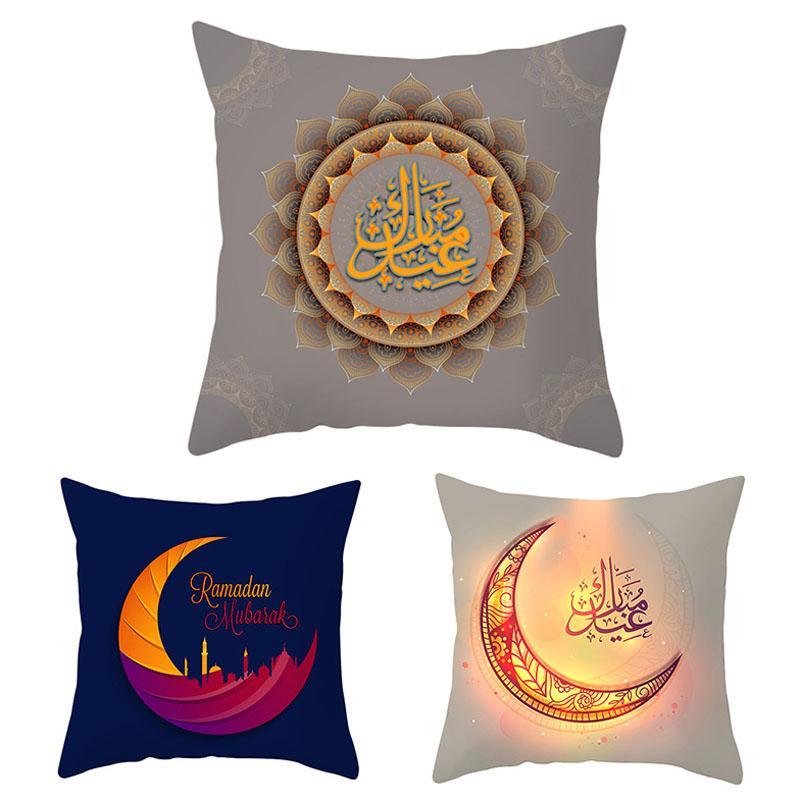 40 Arten Ramadan Home Kissenbezug Islamisch Fantastische bunte Lichter Sofa Kissen Fall Einseitige Druckkissenbezug PPE61