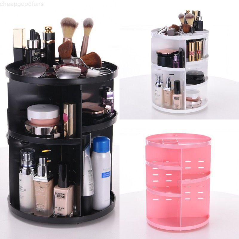 Kunststoff 360 Grad Rotation Rotary Cosmetic Folding Makeup Organizer Desktop Aufbewahrungsbox 3 Farben