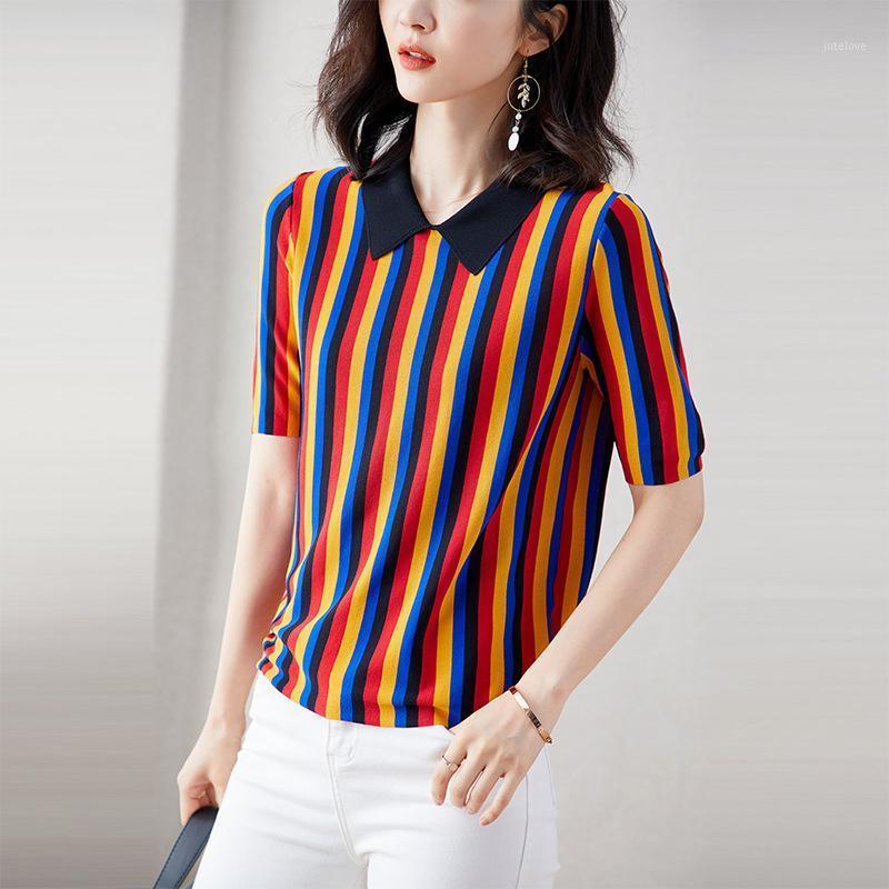 2020 moda arco-íris listrado manga curta camisola colarinho de gola fina JL-HY20191