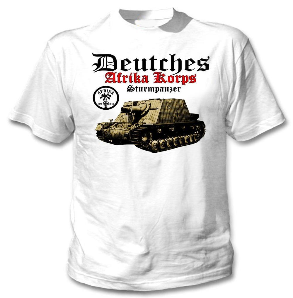 Deuters Afrika Korps Sturmpanzer WWII Novo Incrível Gráfico Novo 2021 Homens Casuais Carta Impresso Top Quality Impresso Camisetas