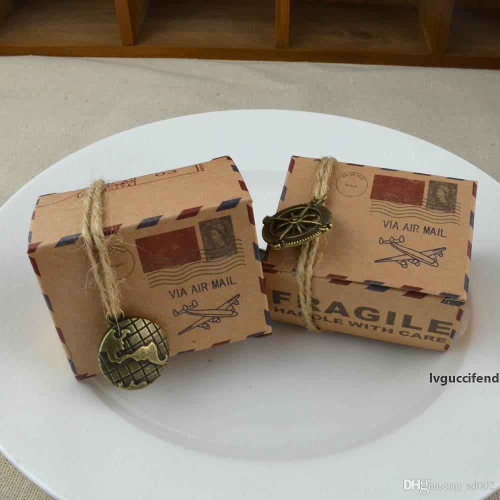 Старинные печенья подарочные коробки воздушной почтой плоскости узор крафт бумаги конфеты коробка мини-шоколадный организатор обертки с пенькой веревка повязка 0 35WJ ZZ