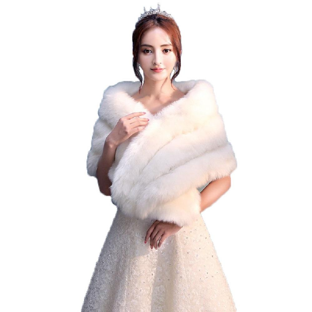 Kadınlar Düğün Şal Akşam Parti Elbise Wrap Kürk Pelerin Gelin Ceket Ceket Faux Kürk Şal Shrug Sarar
