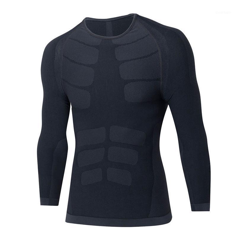 Открытый футболки мужские быстрые сухие сжатие фитнес одежда с длинными рукавами рубашки туго тяжело тяжелый тяжелый вес