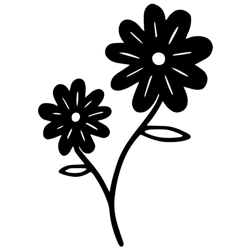12.2x17cm Daisy Çiçekler Arka Cam Dekorasyon Çıkartması Vinil Araba Çıkartmaları C25-0374