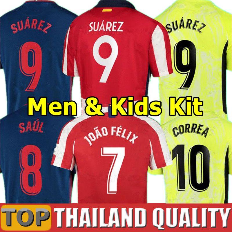 20 21 JOAO FELIX Atletico Madrid Camisetas de futebol 2020 2021 SAUL Camisetas SUAREZ LLORENTE CORREA Conjunto de camisa de futebol Masculino Kit infantil uniforme