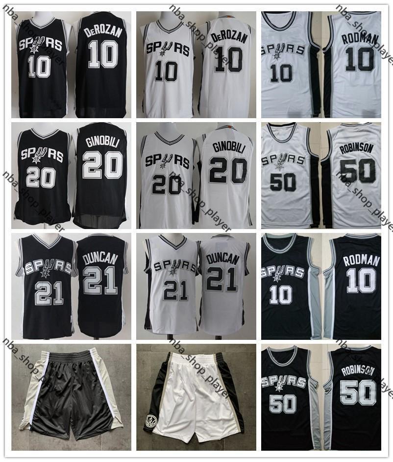 Mens Basketball Shirts DeMar DeRozan 10 Manu Ginobili 20 Tim Duncan 21 Rodman 10 David Maurice Robinson 50 Basketball Jerseys Shorts