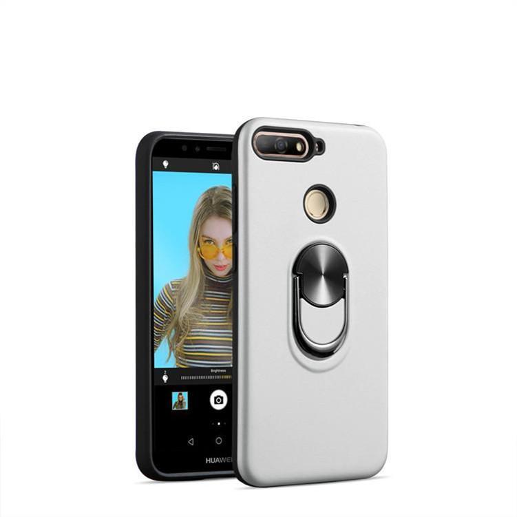 HYBRID Stoßdämpfe Kickstand Telefon Hülle für Huawei y6 2019 mit eisenblech Magnetwagenhalter Halterung Ringkoffer A