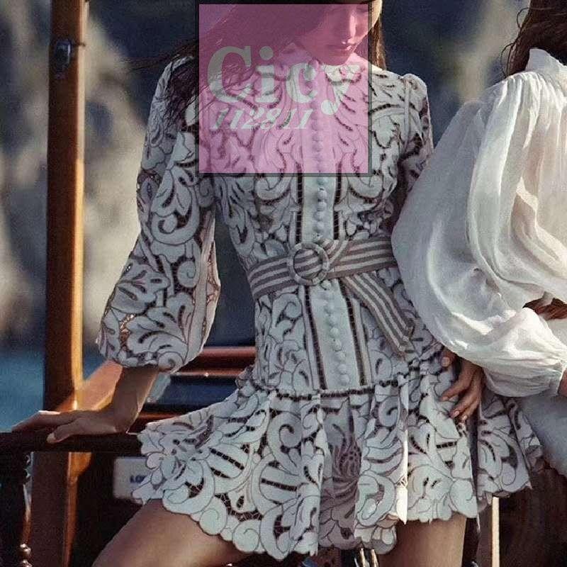 Australia autumn hollow lace retro waist slim long-sleeved dress