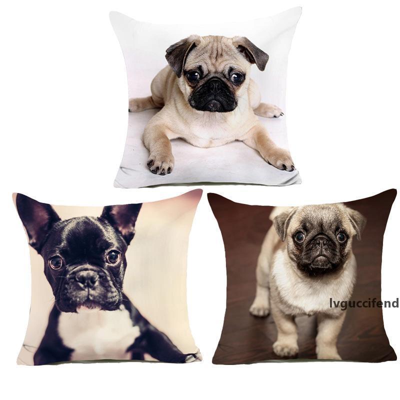 Komik Sevimli Yavru Köpekler Desen Yastık Kapak Pugs Polyester Yastık Kapak Kanepe Sandalye Oturma Odası Dekor Yastık Kılıfı
