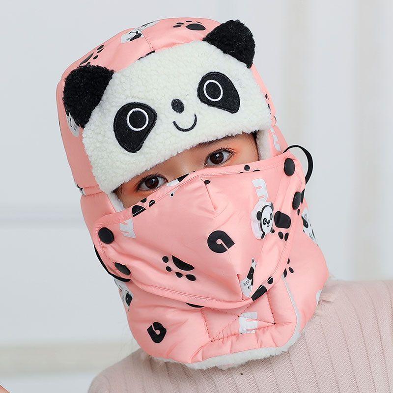 Tier panda scharfe bomber hüte für mädchen junge winter hüte kappe mit schal neck masken baumwolle schneekappe ohrklappen russische hut maske warm