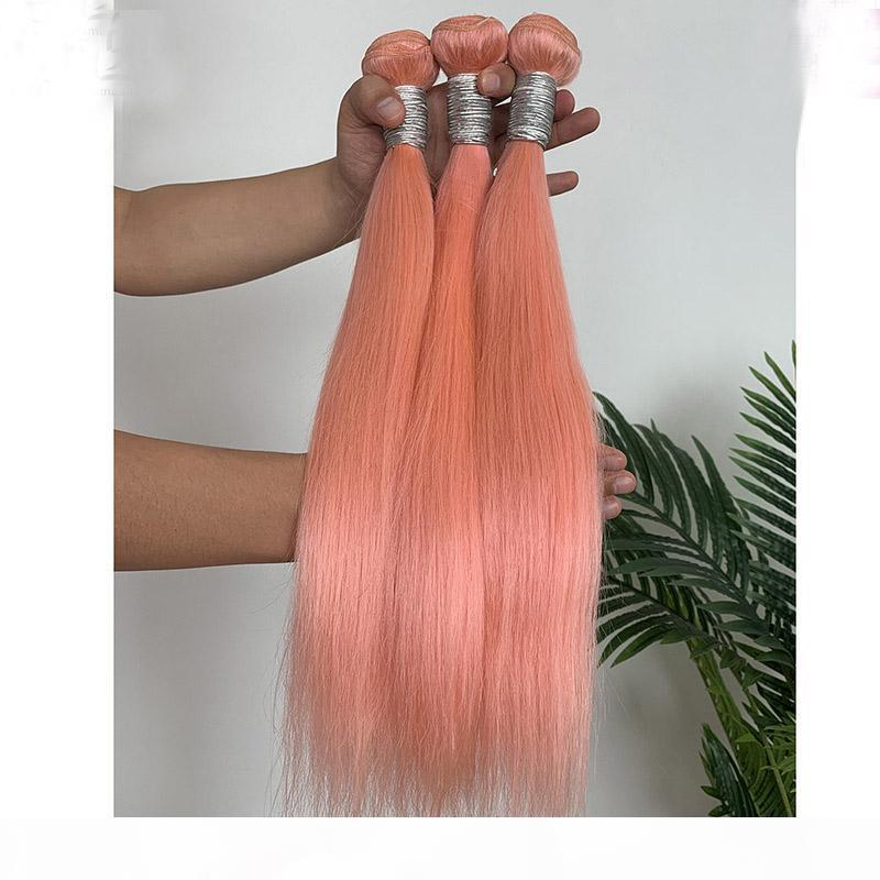 Rosa Farbe Pure Color seidige gerade 3 Bundles brasilianische peruanische Indian Malaysian 100% Echthaar Extensions Tressen Gerade Rosa