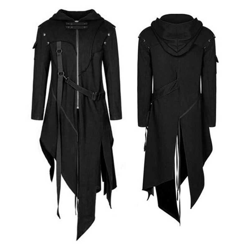2020 Autumn New Men Punk Style Jackets Gothic Belt Swallow-Tail Coat Sleeved Vintage Halloween Long Uniform