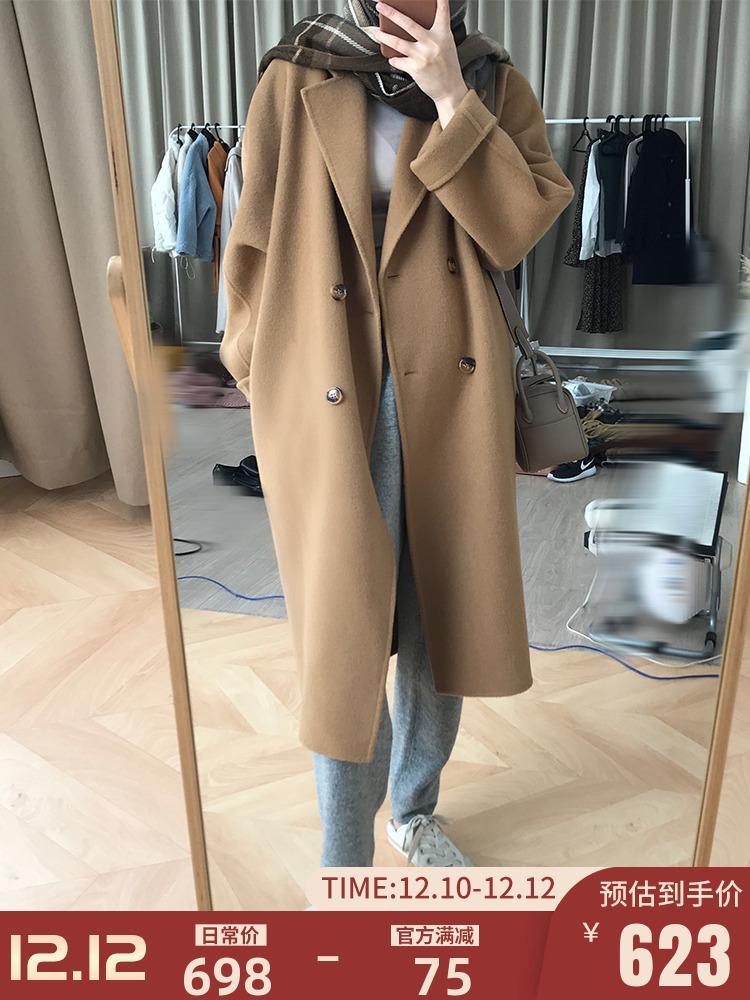77STORE двухсторонний кашемир женская средняя длина нового высококачественного Hepburn шерстяное пальто в осени / зима 2020