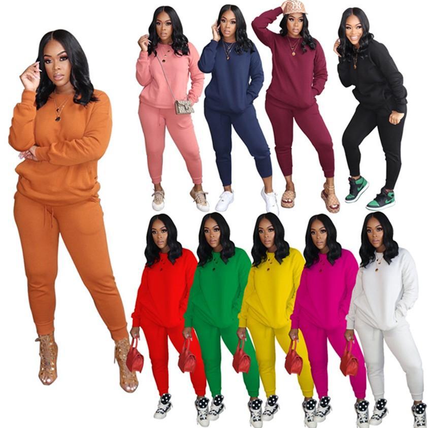 10 Цветов осенью зимняя одежда плюс размер нарядов Jogger Suits 2 частей наборов женщин трексуиты толстовки + леггинсы с длинным рукавом свита 4250