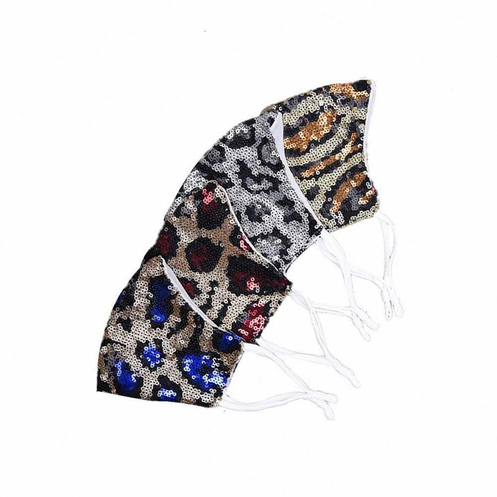 Leopar Moda Maskeleri Ağız Sequins Bling Toz Geçirmez Yıkanabilir Kullanımlık Kadın Yüz Maskesi Toptan DHE384 JZQN #