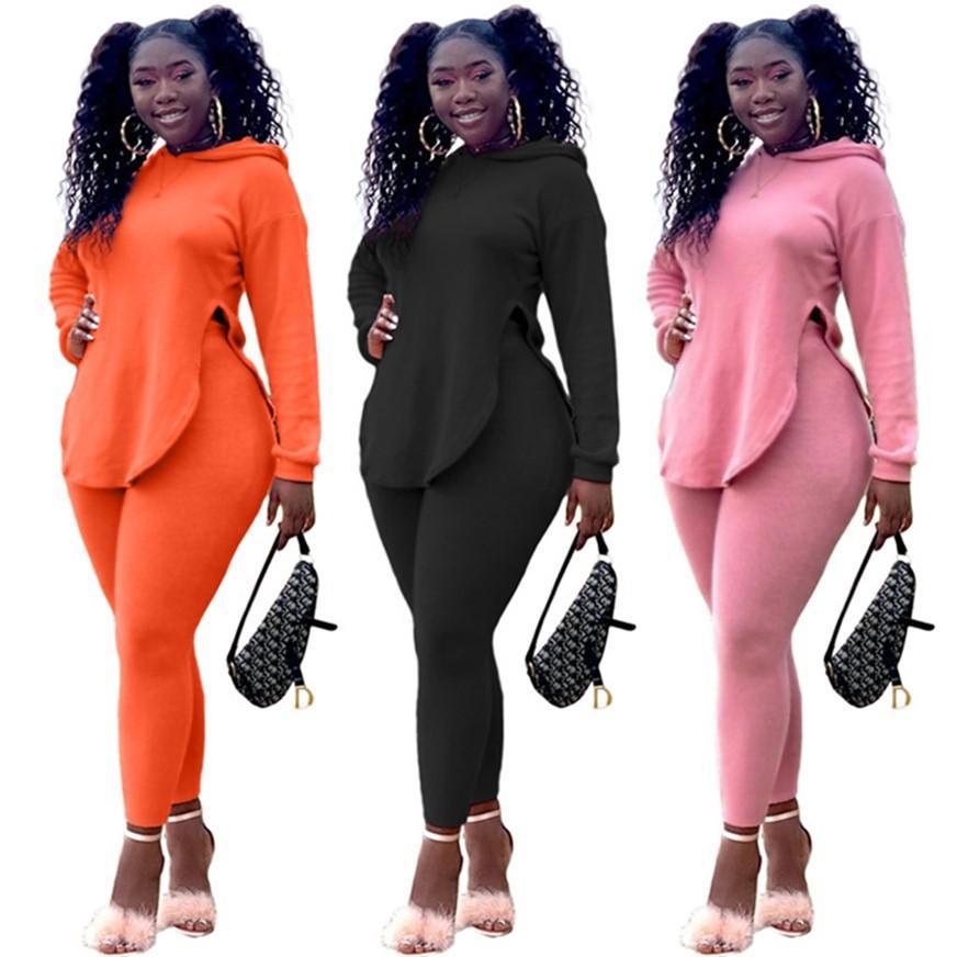 Belissime da donna con cappuccio + Leggings Plain Sweatsuits Tuta da jogging 2 Pz Set Set a maniche lunghe Abiti S-2XL Autunno Autunno Vestiti 3970