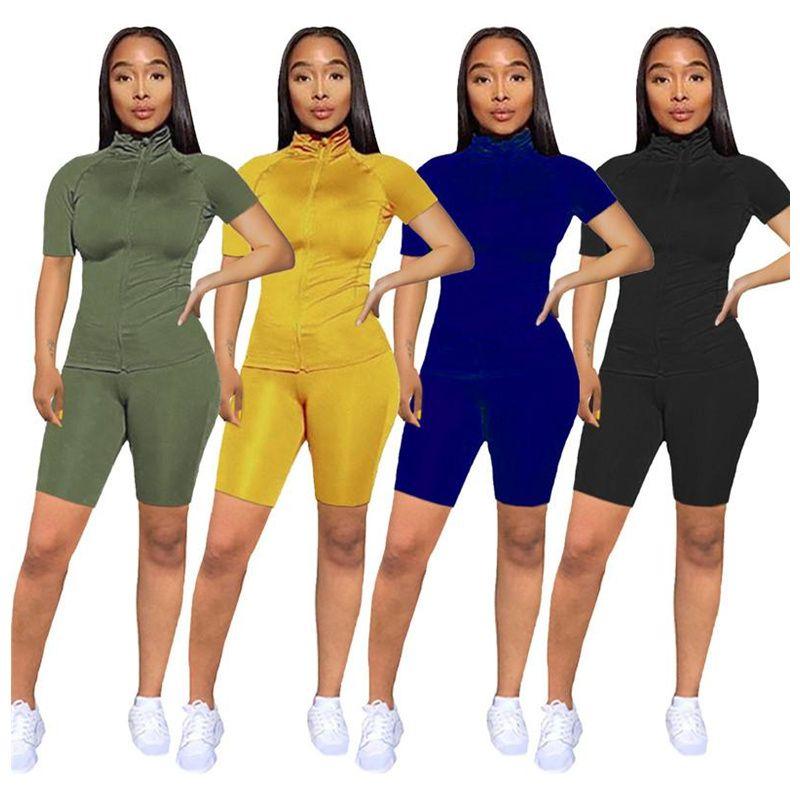 Модные шорты спортивные конфеты Candy Color женщины с коротким рукавом молния Turtleneck футболка + шорты 2 шт. Набор летних нарядов Sportswear Set Best
