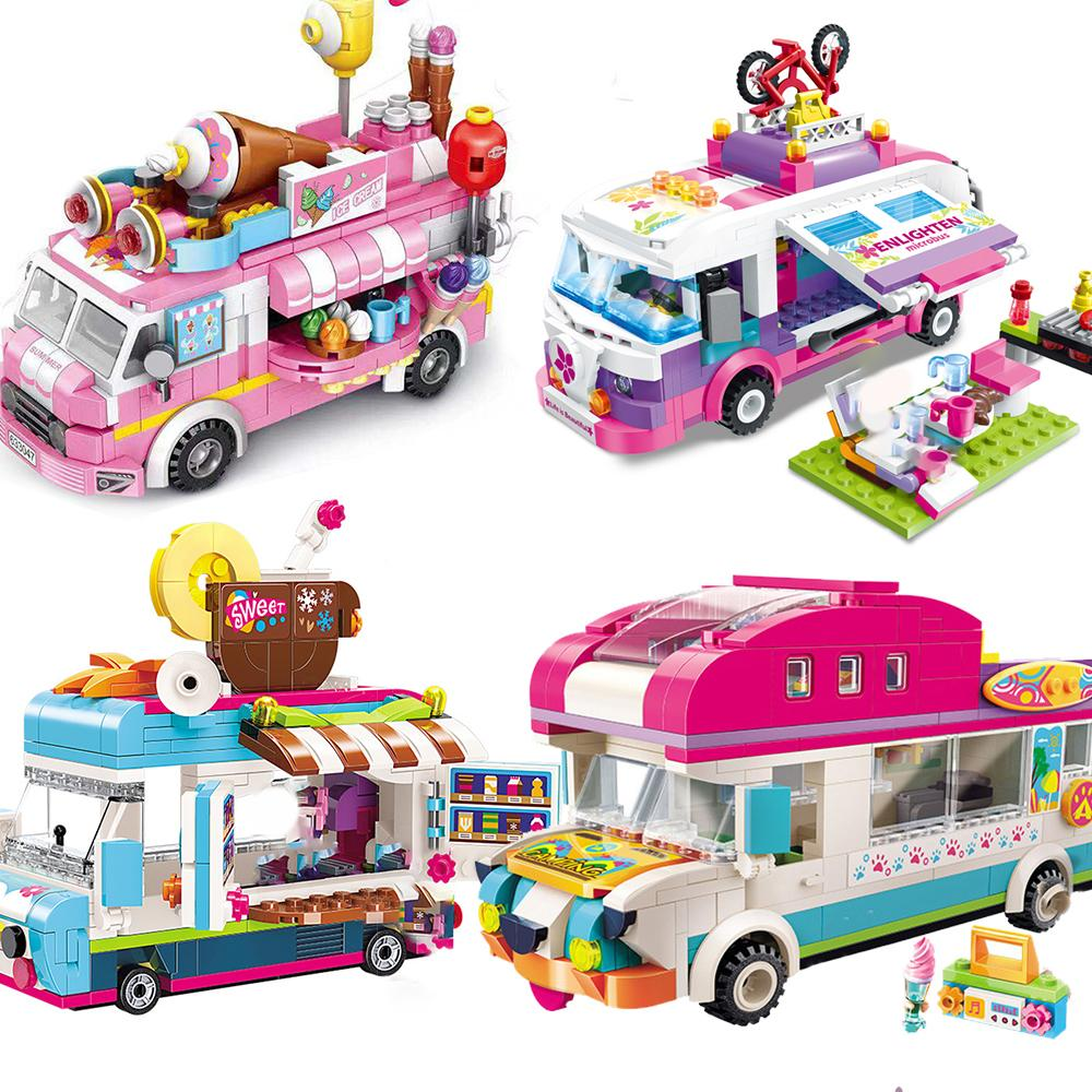 Girls Ice Cream Ensembles Modèles Bâtiment Blocs Kits Bricks Jouets Enfants Racing Super Ville Véhicule Véhicule Hot Dog Camping Car Friends Q1126