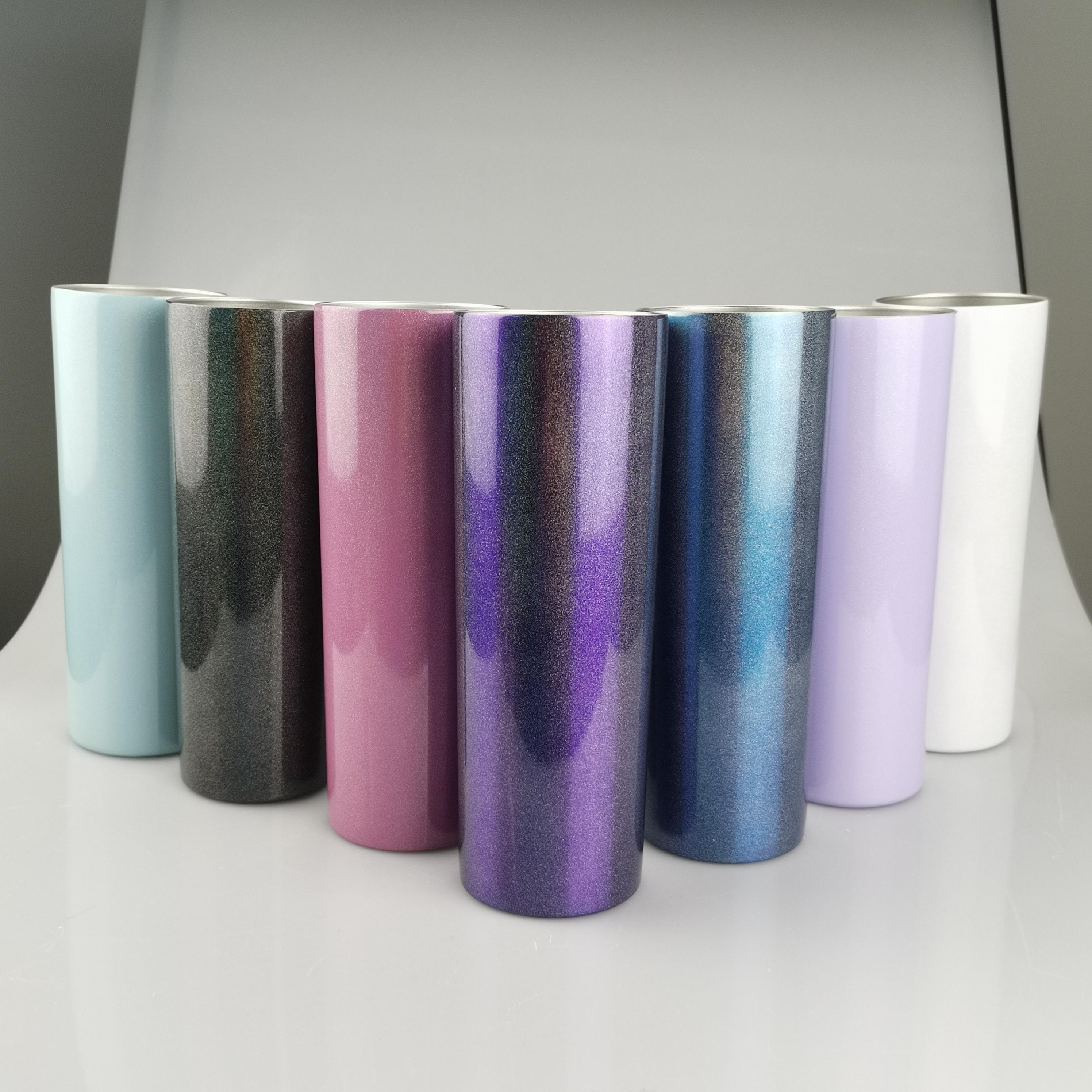 20oz Sublimação Glitter Tumbler aço inoxidável de aço inoxidável tumbler parede dupla parede de vácuo garrafa de água isolamento de café com tampa A02