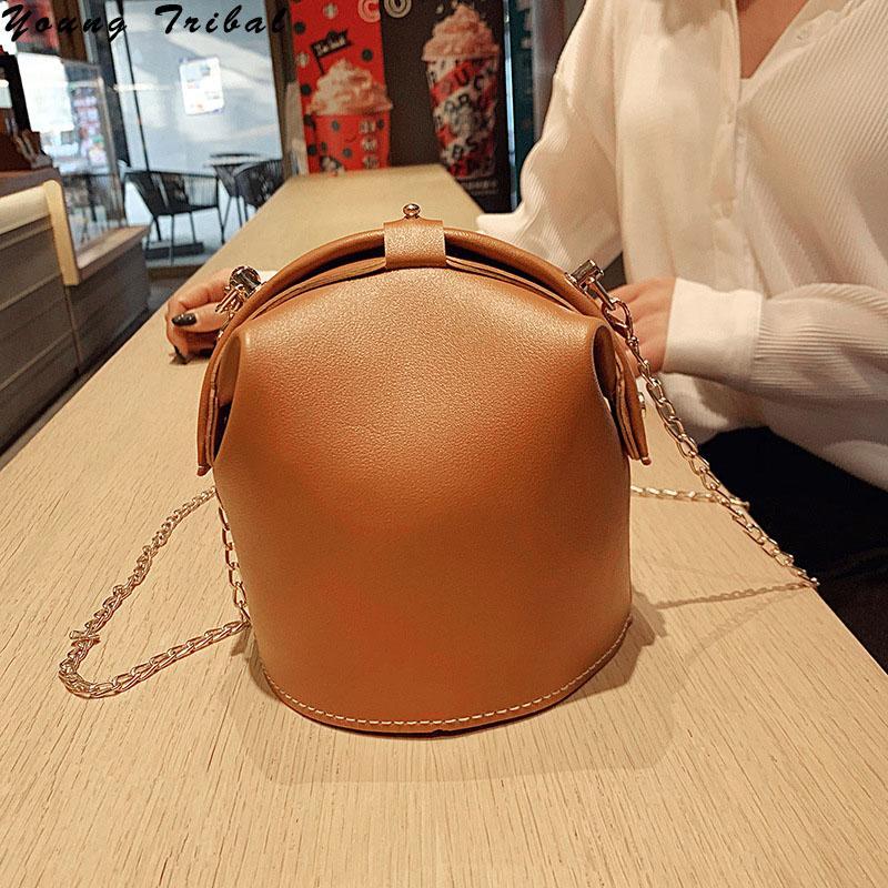 Pequeño bolso de cubo bolsos de hombros Mujeres para bolsas de cuero Crossbody Satchel Vintage Mini 2020 femenino PU cadena Messenger Bags PPOCX