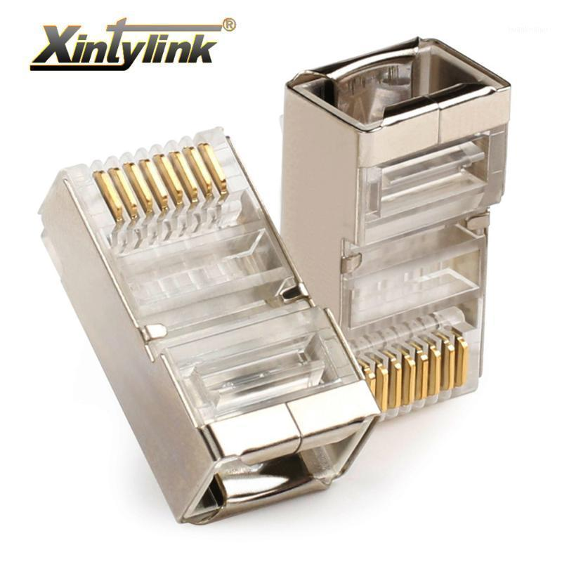 XintyLink Ethernet Kablo Bağlayıcı RJ45 Fiş Erkek LAN Ağ Cat5e 8P8C Jack RG RJ 45 STP Korumalı RG45 Kedi 5 CAT5 50 adet 100 adet1