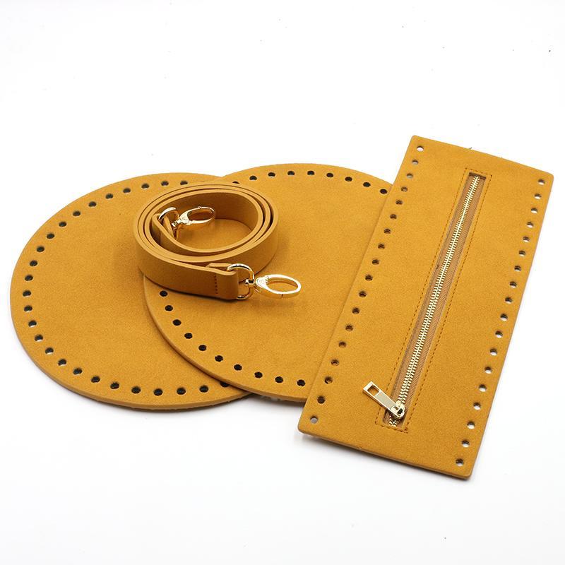 4pcs / set Bolso hecho a mano de la correa tejida de bricolaje Bolsa Bolsa de accesorios partes inferiores de la cubierta de cuero del hombro de la correa para el hombro bolsa de #C