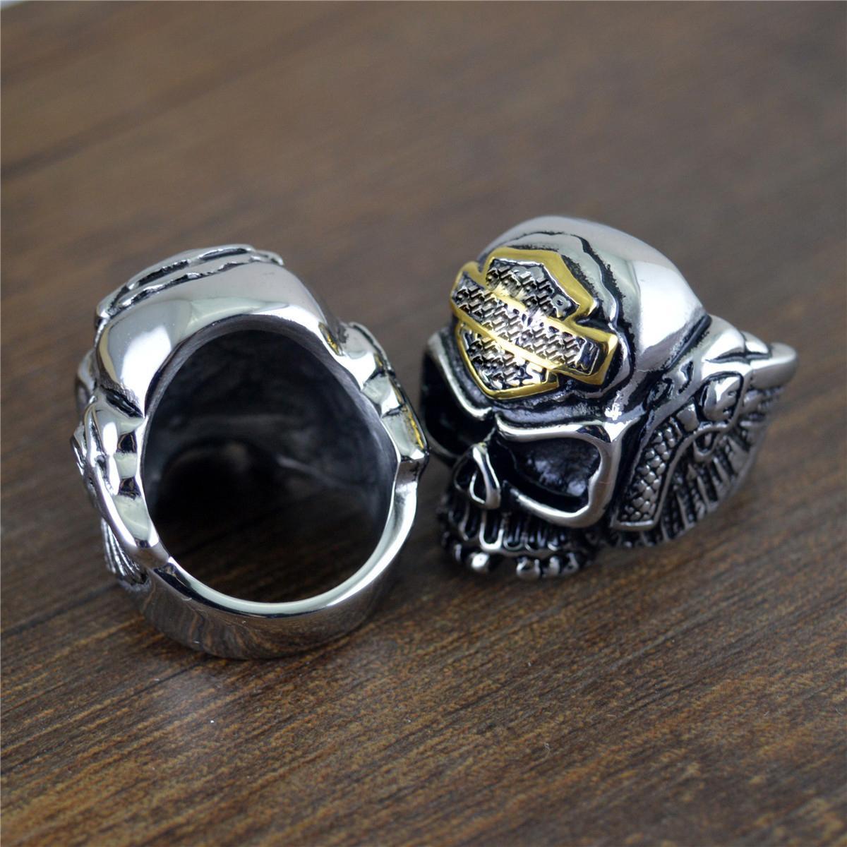 5 Arten Hip Hop Vintage 316L Edelstahl Ring Herren Ring Legierung Motorradfahrer Punk Ring Hohe Qualität Schädel Halloween Ringe Schmuck