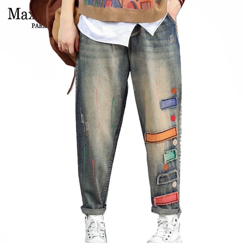 Max lulu 2019 mode koreanische stil damen punk denim hosen frauen herbst gerissen jeans vintage weibliche patchwork hosen plus größe