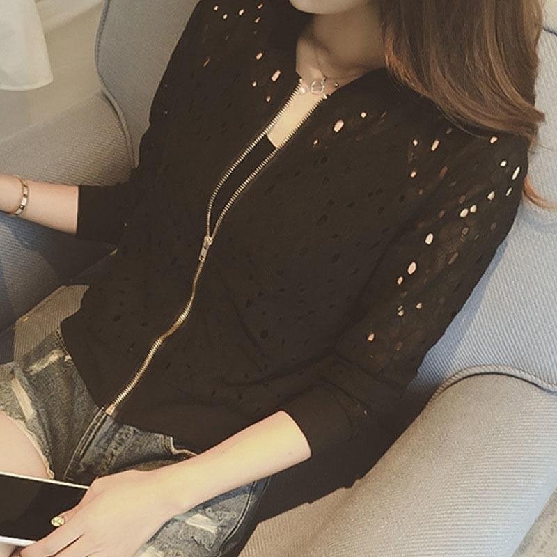 Мода женщины бомбардировщик с длинным рукавом кружева солнцезащитный крем рубашка короткое лето тонкое пальто повседневная бейсбол пальто новый Y200827