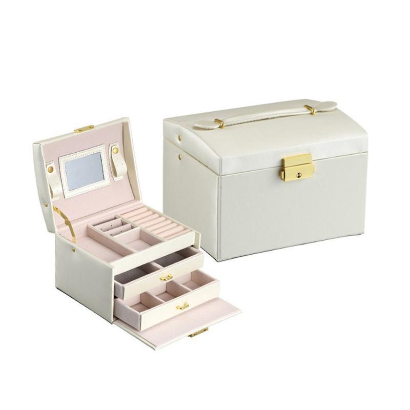 새로운 PU 가죽 보석 상자 3 레이어 더블 서랍 보석 상자 공주 저장 패션 패션 아름다운 패션 2020