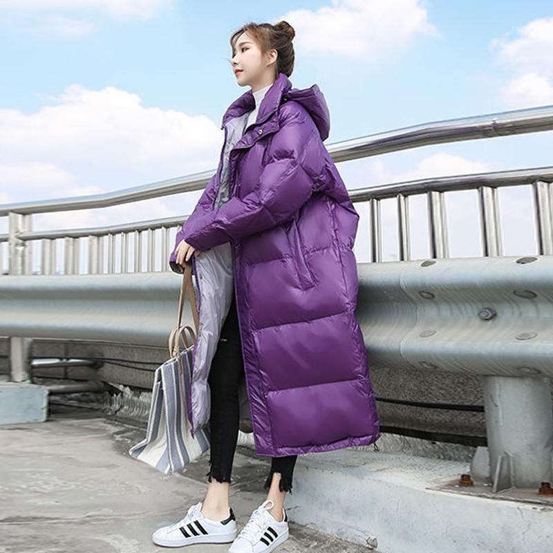 Mujeres Down Parkas Heydress 2021 Mujeres Sólido Winter Coat Coat Lady Fashion Hood Fashing White Duck Female Harajuku Casual Outwear1