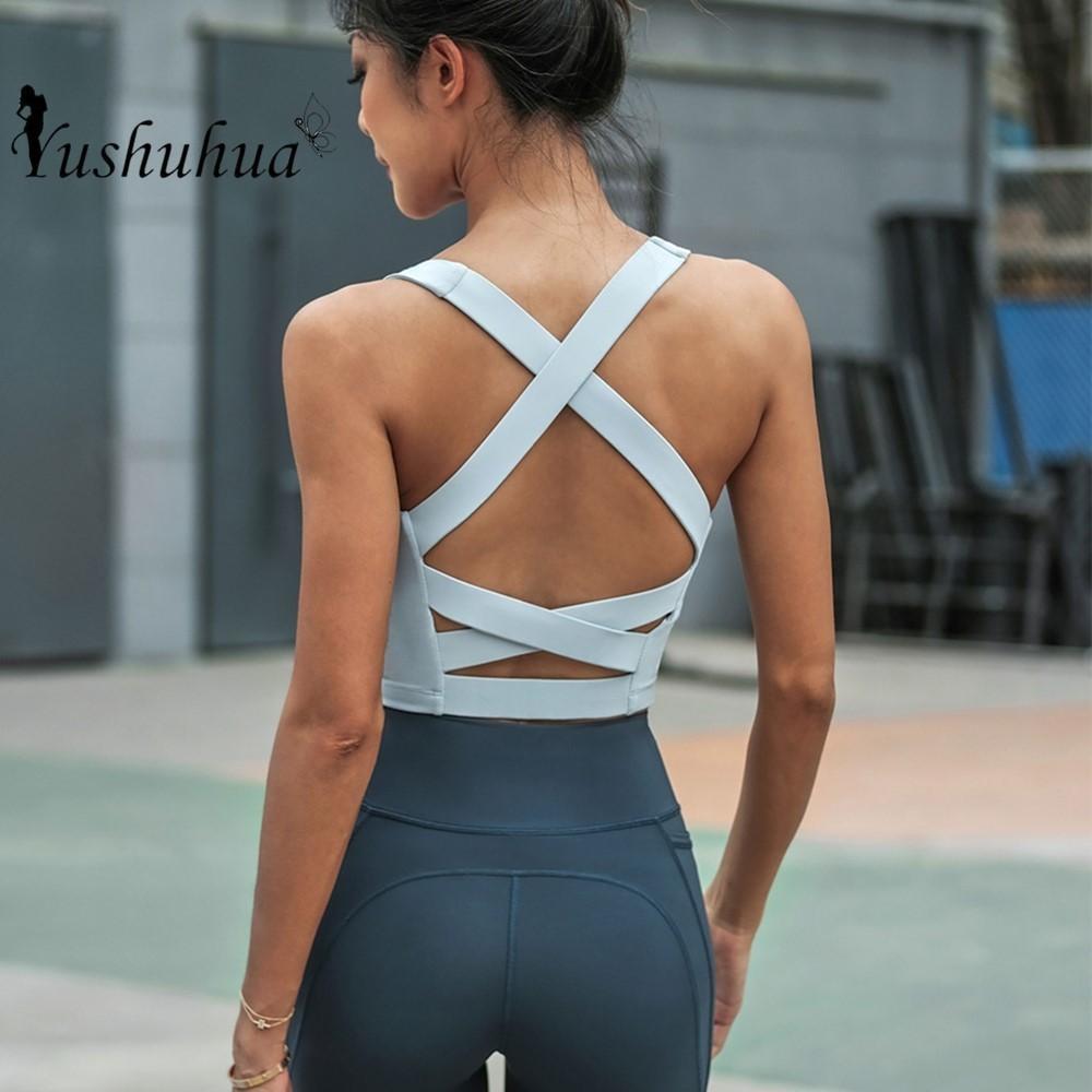 Yoga tanque tops mulheres fitness colheita top de choque à prova de choque esportes sutiãs treinamento sem mangas esporte ginásio tops sexy cruz de volta running colete z1125