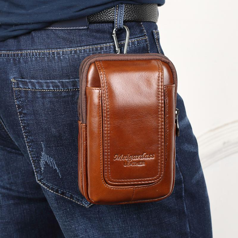 Vintage Cuero genuino Paquete de Fanny Pack de la cintura Hombres HIP BUM BRANDO BOLSA BOLSA DE LA CINTA Paquetes masculinos 5.5 '' Bolsilla de cuero de bolsillo de teléfono celular