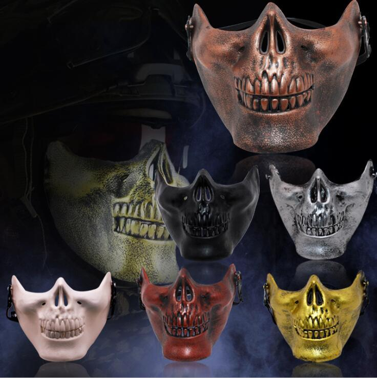 Hot Skeleton Mask Half Face Actual Combat Warrior Face Masks Maschera spaventosa Party Halloween 9051