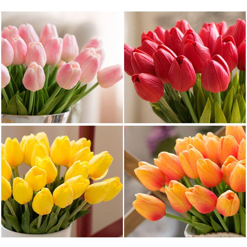 20pcs Artificial PU Mini Tulips Véritable Touch Fleur Fausse Feuille Home Party Party Jardin Décor De Mariage Rose / Blanc / Vert / Jaune