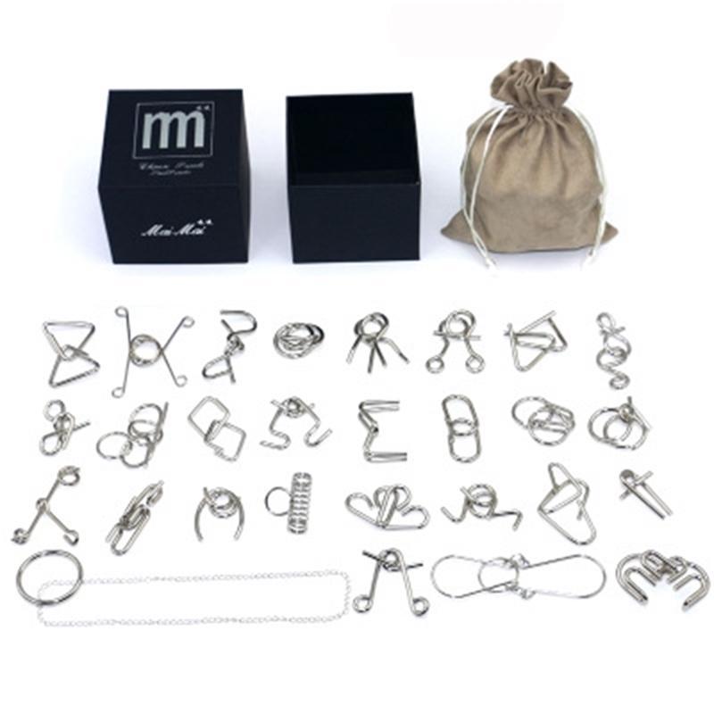 لغز المعادن العقل الدماغ دعابة سلك سلك الألغاز لعبة لعب للأطفال الكبار هدية عيد 201218