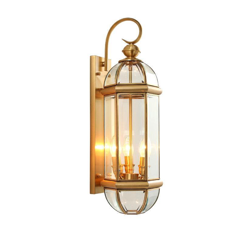Full Copper Outdoor Wall Lamp European Retro Waterproof Antirust Glass Luminaires Villa Gateway Courtyard Corridor E14 Outdoor Lighting