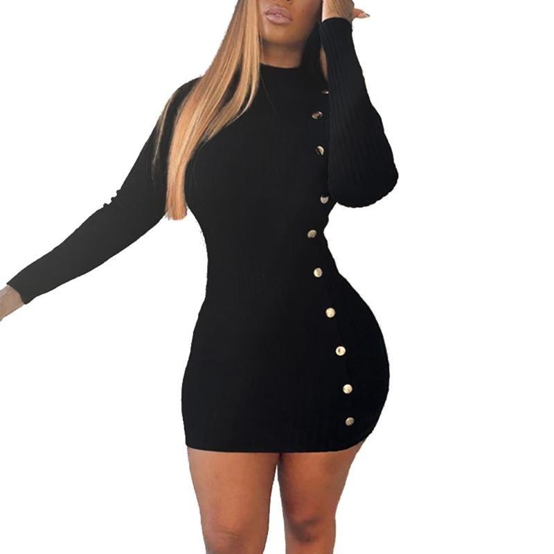 Повседневные платья женщин с длинным рукавом кнопка украшения платья сплошной цвет вязаный для дам