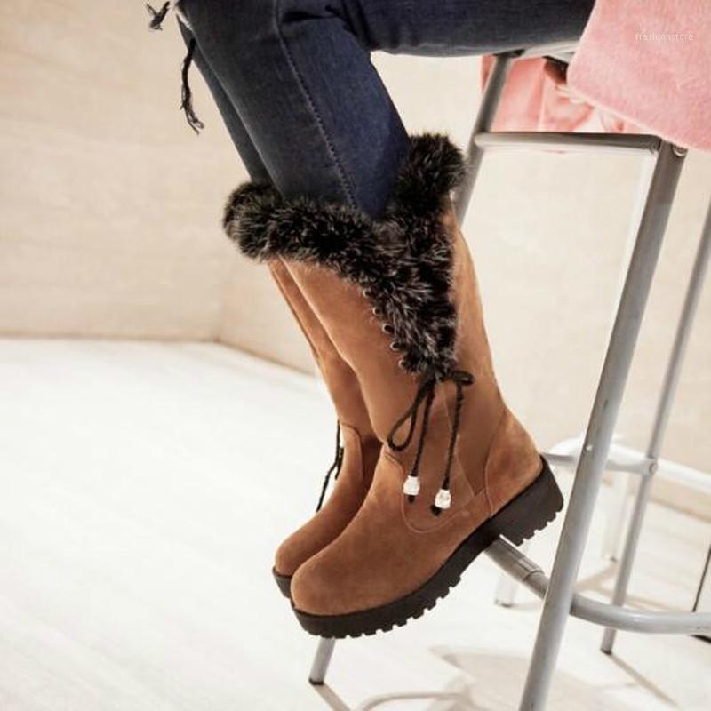 Сапоги женские середины теленка середины каблуки обувь женщина пинетки зимний снег теплые кружевные ботинки чаусу очарки femme zapatos mujer sapato nh2951