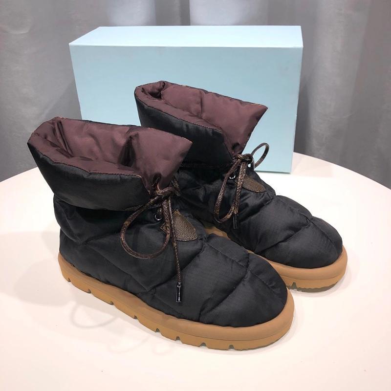 Novas Mulheres Travesseiro Flat Baixo Shoes Designers Plataforma Ankle Botas de Alta Qualidade Inverno Impressão Falts Eiderdown Lace-Up Snow Boot com caixa 265