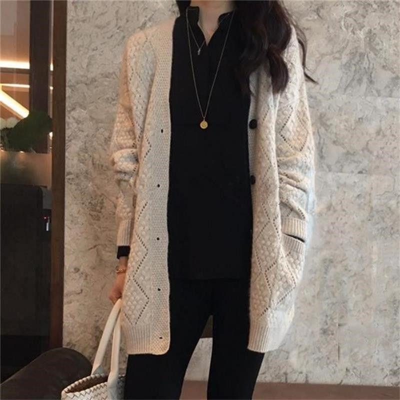 2021 Automne et hiver Long Cachemire Cardigan Femme Coffret Lâche Grand Taille Pull tricoté