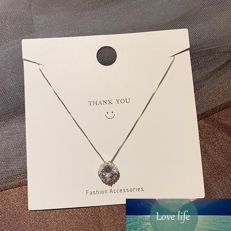 925 Sterling Shining Silver Zircon Necklace Cuadrado Diamante Gargantilla Collar para Fiesta Femenina Femenina Elegante Joyería Fina NK067