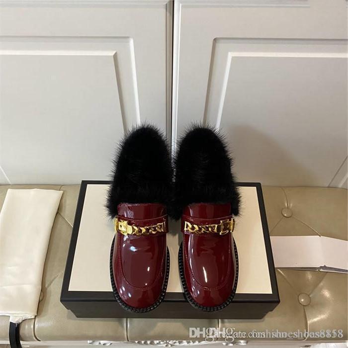 Klassische Metallkettenkette-Link-Lack-Müßiggänger, schwarze strukturierte Ledersäule Comfortable Retro-Frauen-Schuhe, mit Box