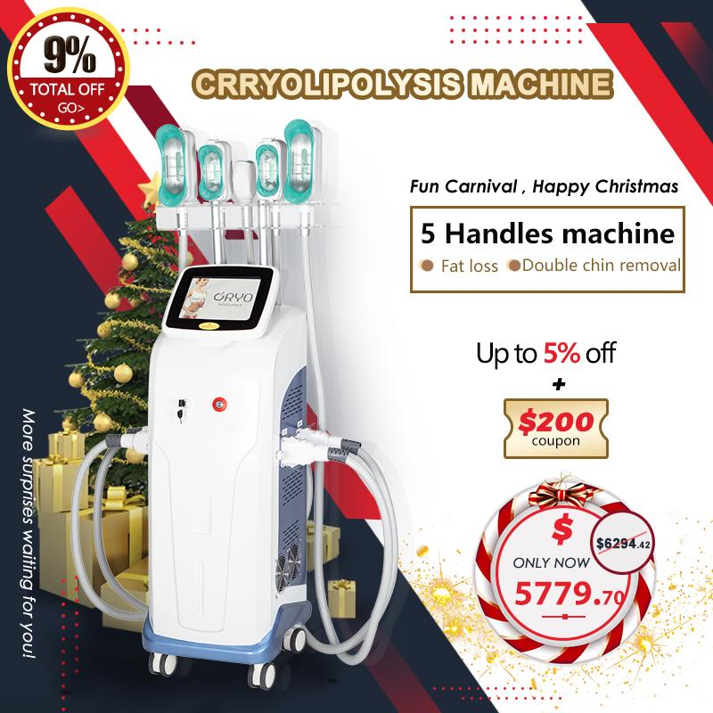 5 Cryolipolysis Kolları Kriyo Makinesi Yağ Donma Vakum Zayıflama Makinesi Kriyoterapi Yağ Azaltma Makinesi Yağ Temizleme Ekipmanları