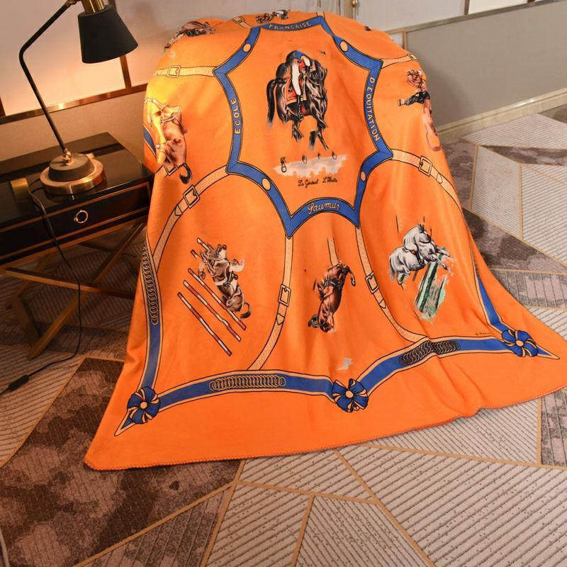 Vintage European Court Blanket Fall Luxurys Designers Blanket Soft Touch Warm Sofa Bed Quilt Double layer fox fleece Blankets
