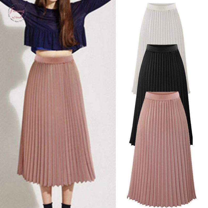 Kadınlar Uzun Maxi Pileli Etek Midi Yaz Etek Yüksek Bel Elastik Rahat Parti Etek Femme Falda Corta 2019 Moda Bohe Beach Giysileri