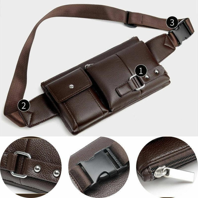 Waist Portable Phone For Handbag Fashion Belt Pack Bag Leather Mens Men's Travel Waist Bags Hiking Black Belly Adjustable Bags Otlhw