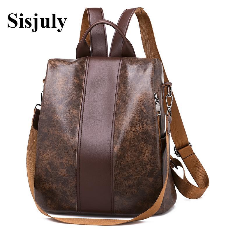 Designer-Women Retro Leather Backpacks Female Multifuction Backpack Fashion School Bags for Girls Big Capacity Bookbag